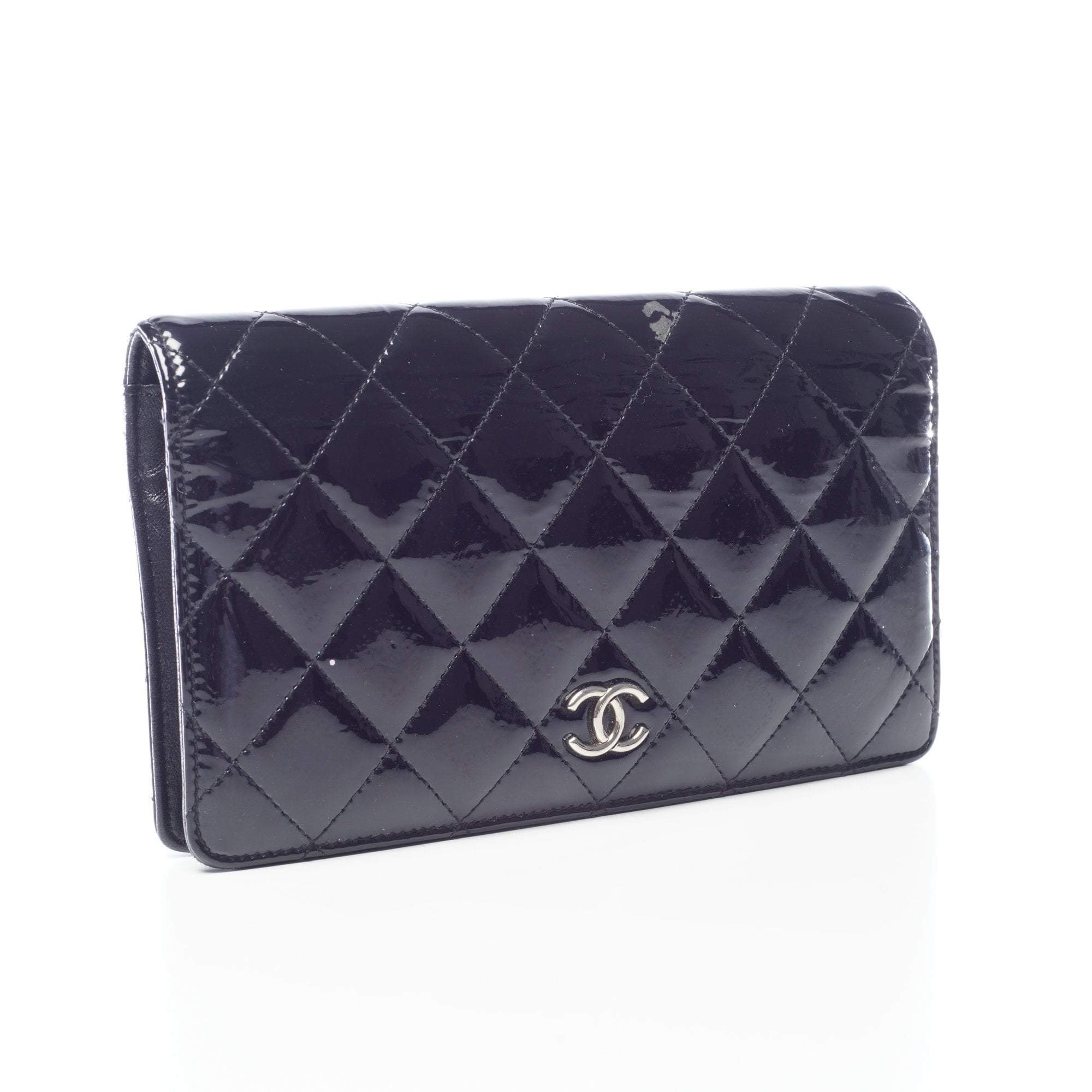 Chanel Black Quilted Patent Wallet