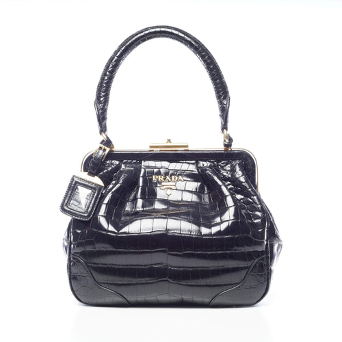 Prada Black Crocodile Top Handle Frame Bag