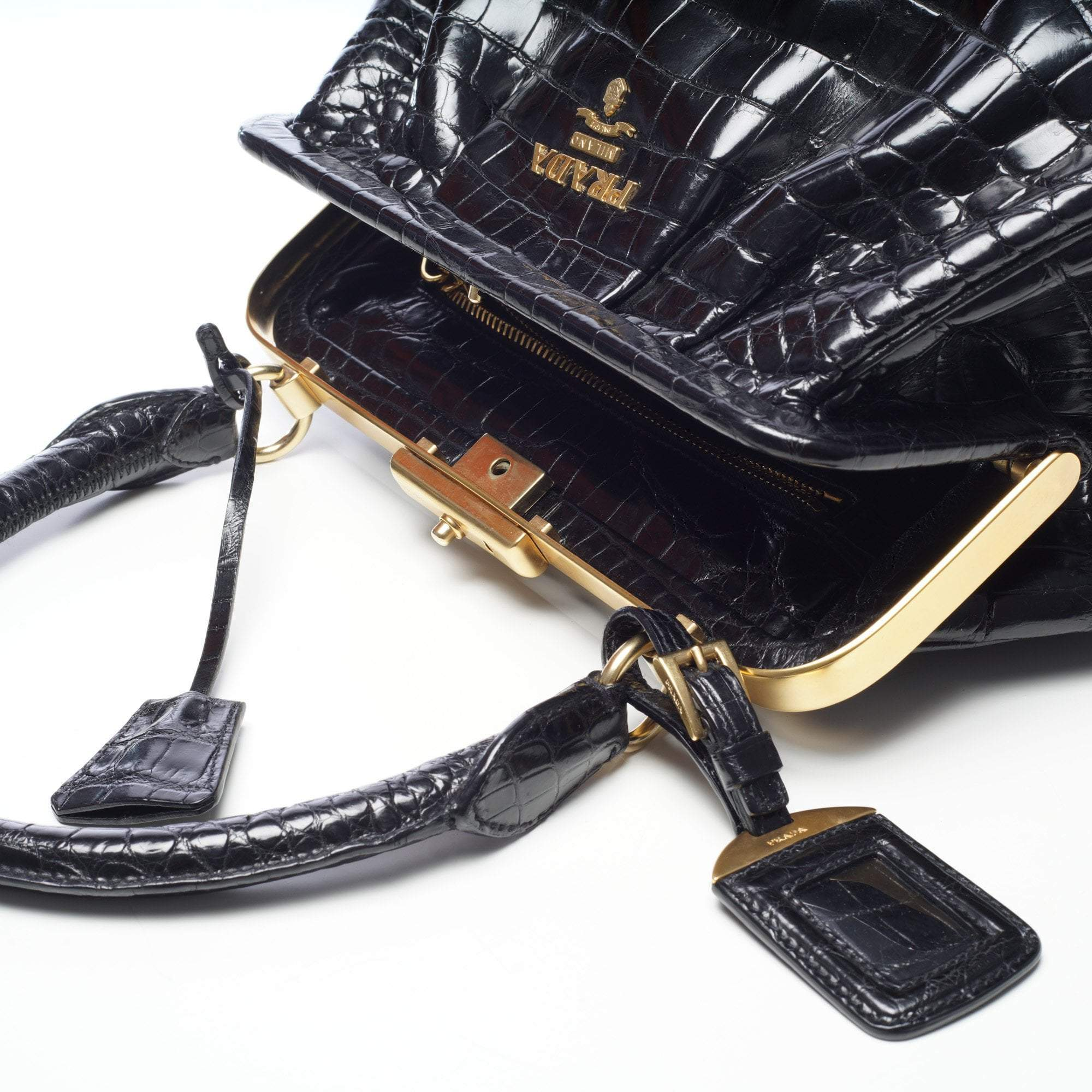 ... italy prada black crocodile top handle frame bag 4f301 8277d ... 225f299cb3