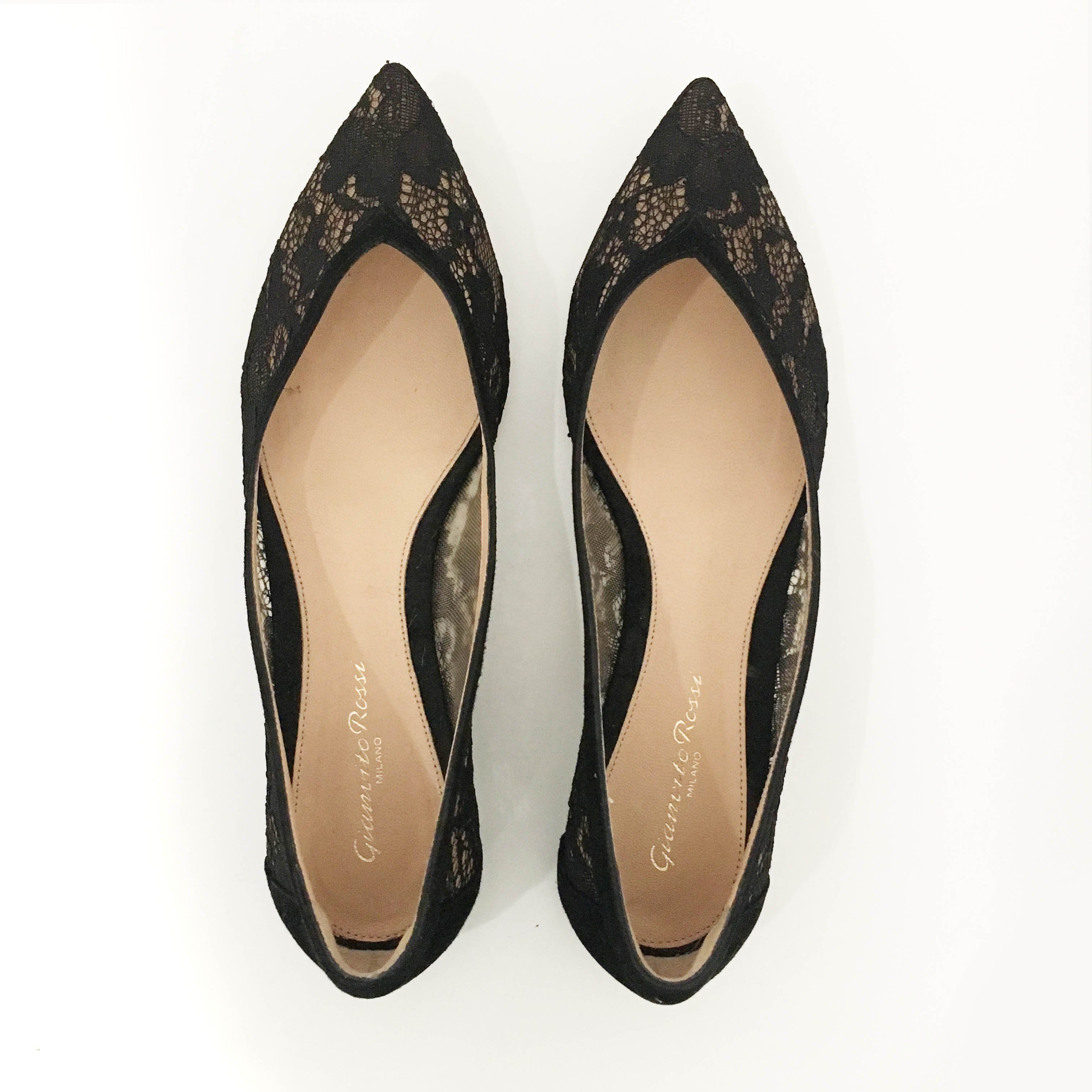 Gianvito Rossi Lace and Suede Pointed Toe Flats