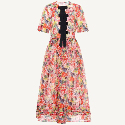 Ganni Seneca floral-printed silk dress