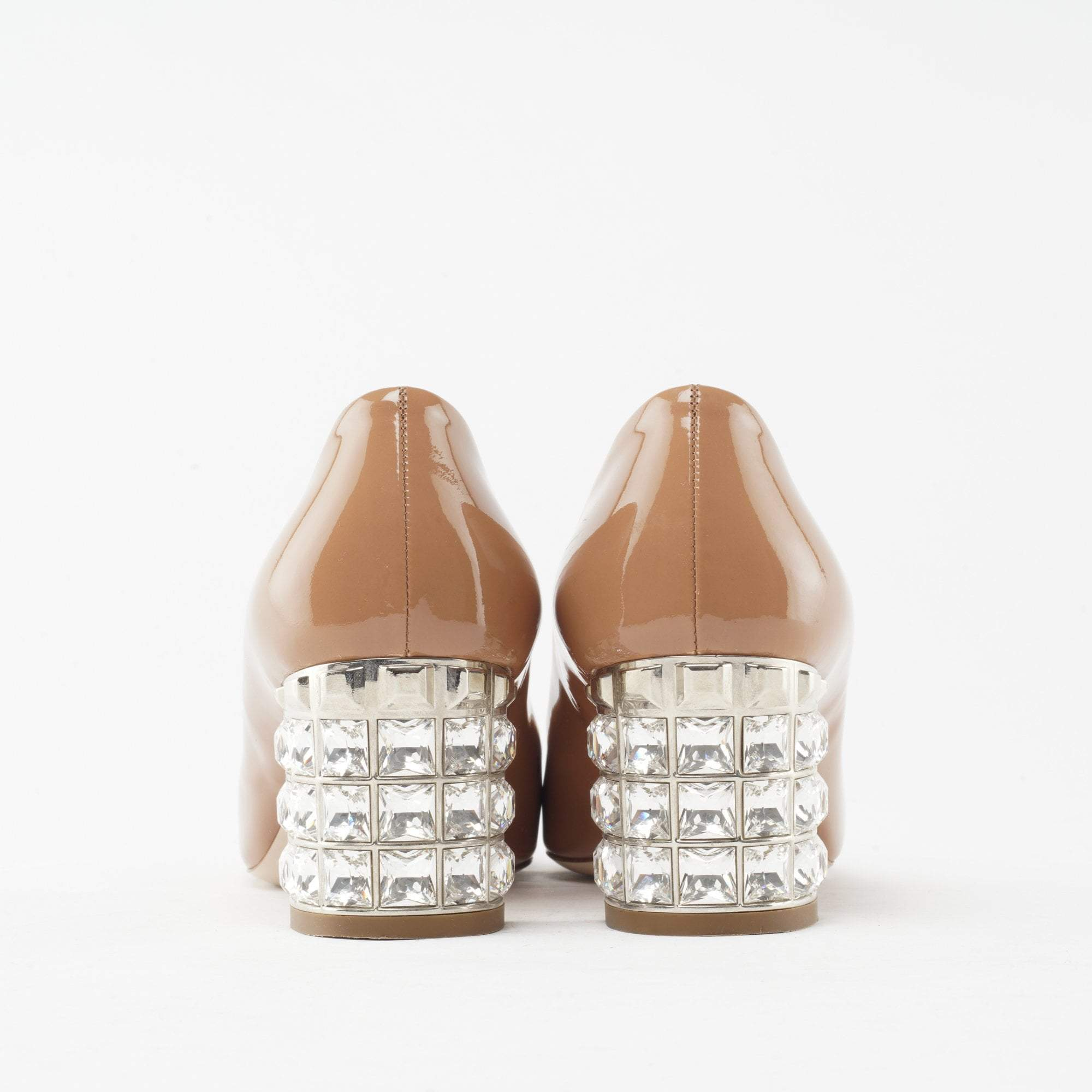 Miu Miu Brown Crystal Embellished Pumps