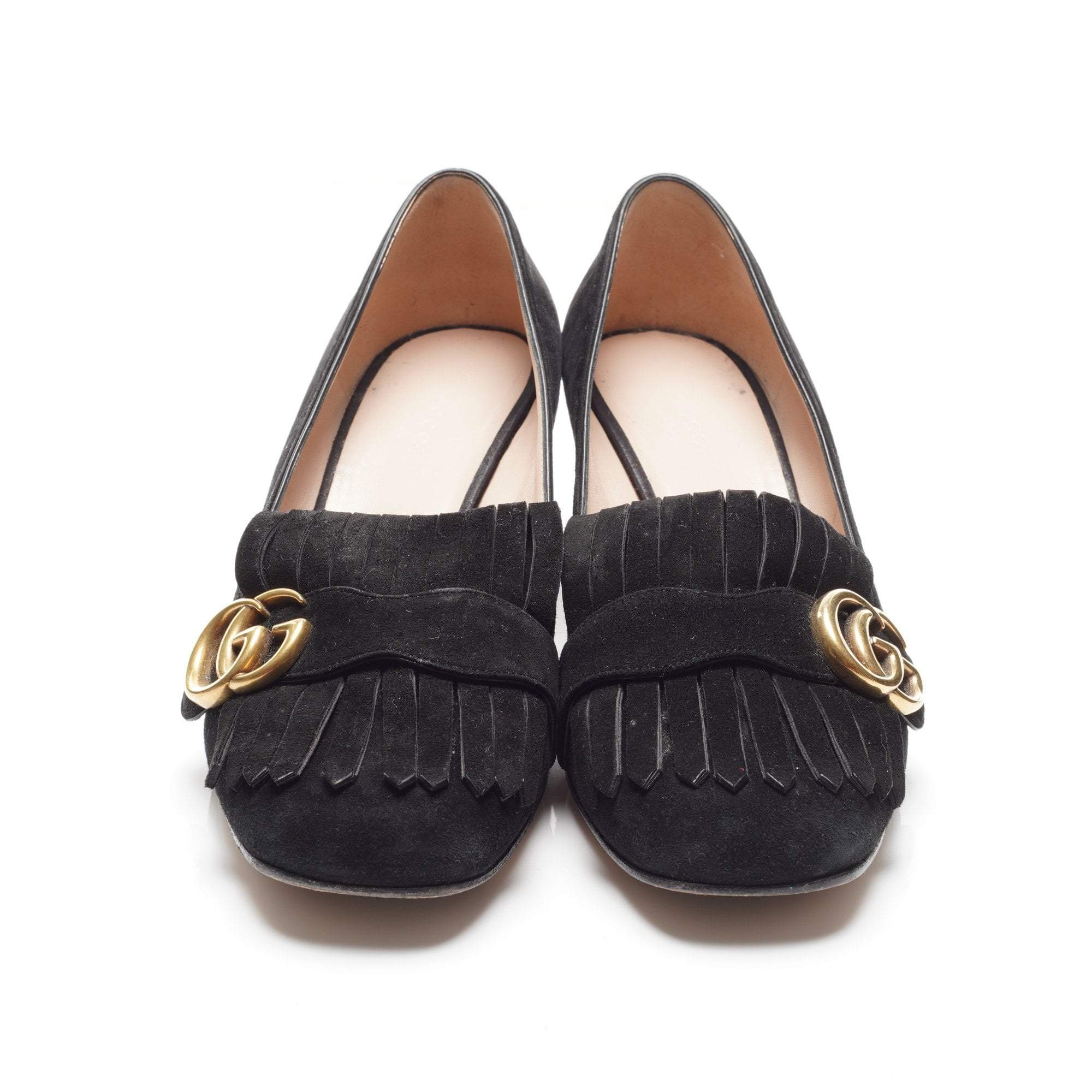 Gucci Suede Fringe Marmont Black Pumps