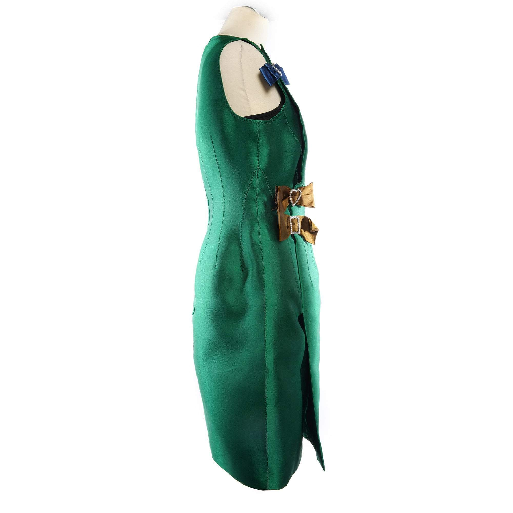 Lanvin Green Sleeveless Dress w Bow Detail