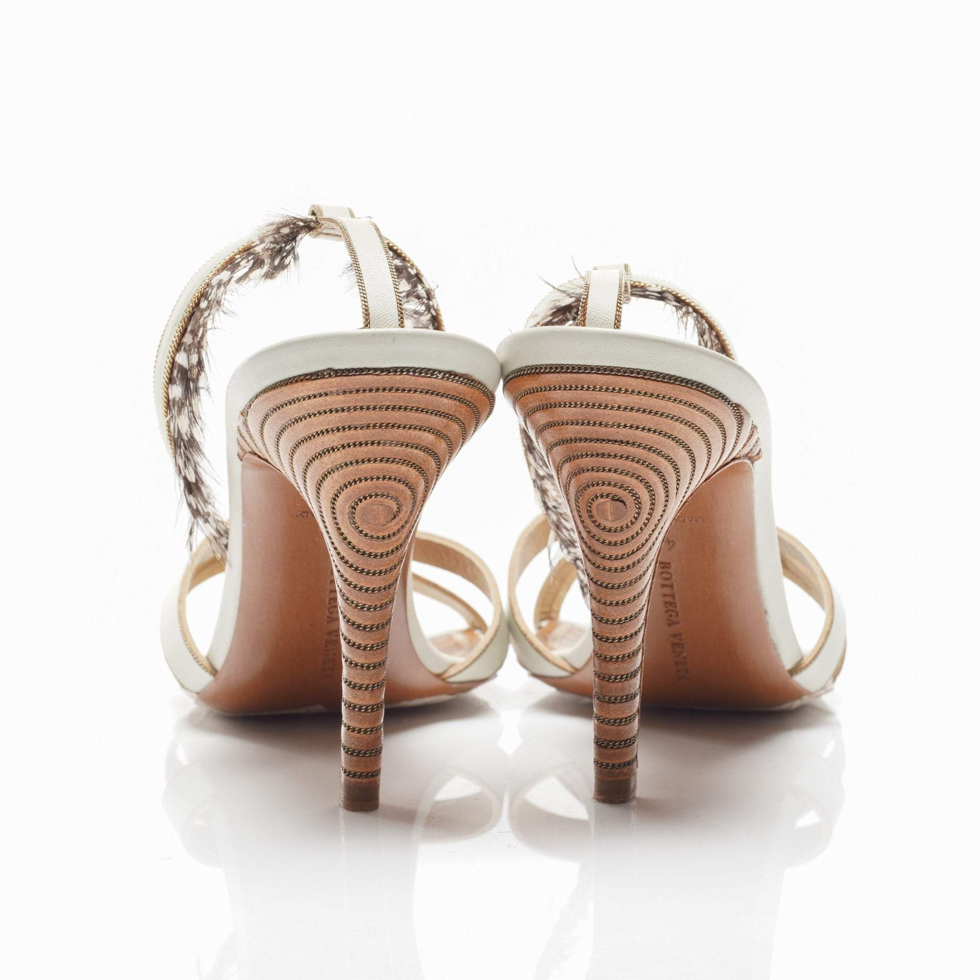 Bottega Veneta Mint Green Feathery Sandal Heels