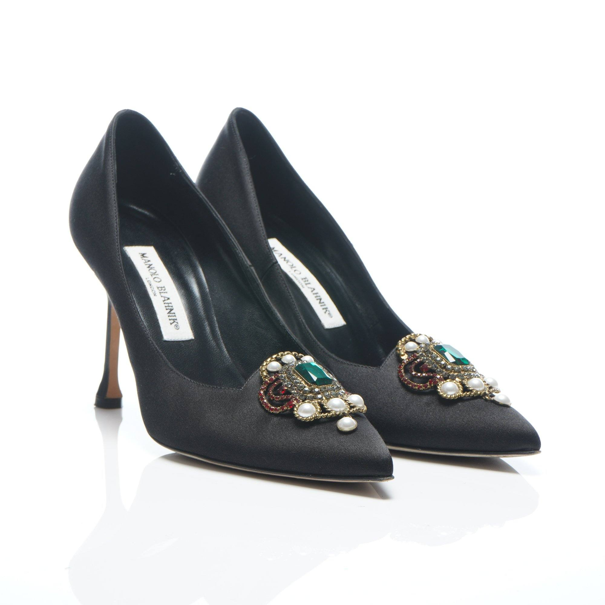 Manolo Blahnik Eufrasia' satin pumps with crystal embellishment