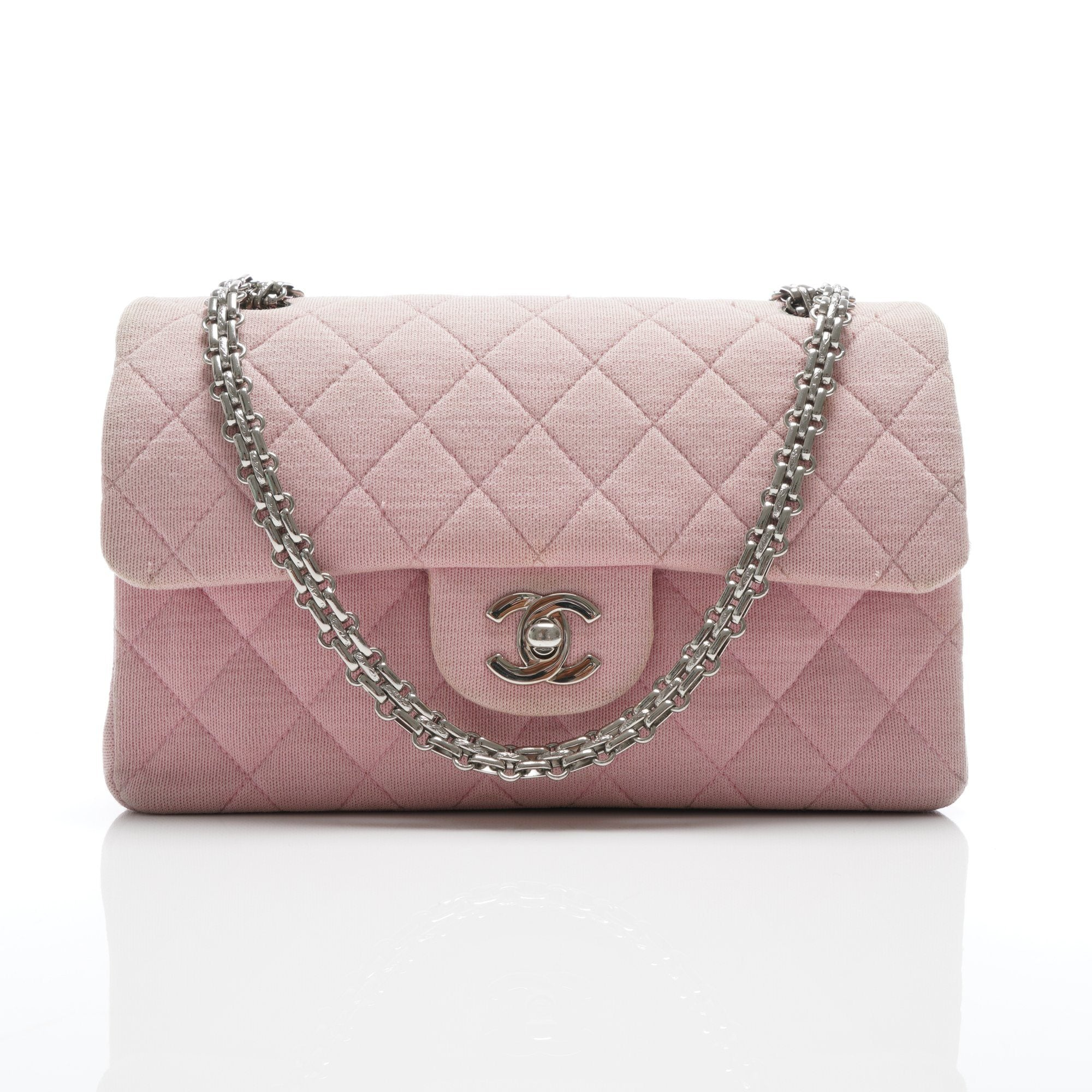 Chanel Fabric Medium Quilted Double Flap Bag