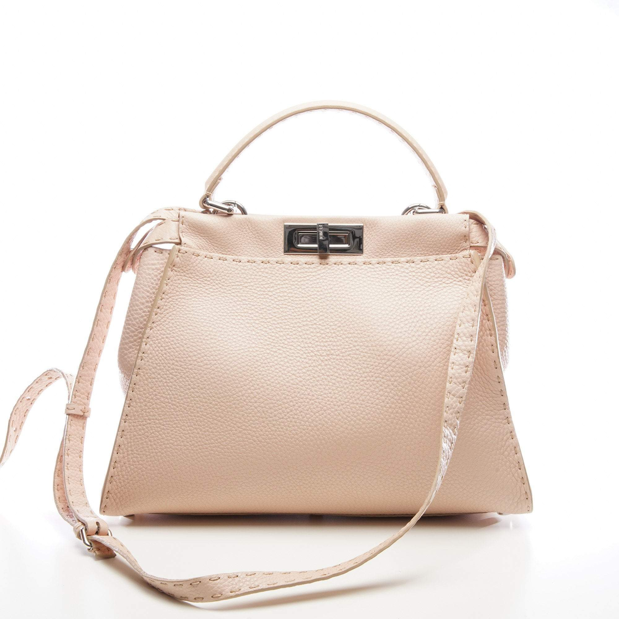 Fendi Pastel Pink Peekaboo Leather Tote
