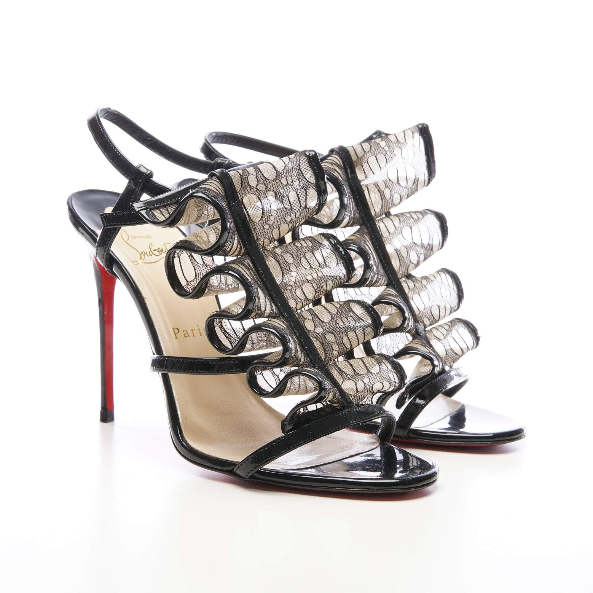 Christian Louboutin Black Fortitia 100 Patent Leather Sandals