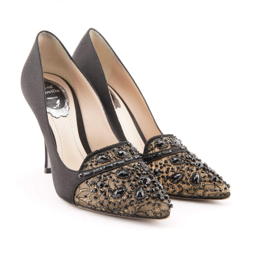 Rene Caovilla Embellished Satin Pumps