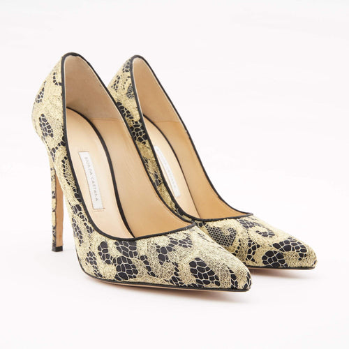 Bionda Castana Gold Lace Pumps