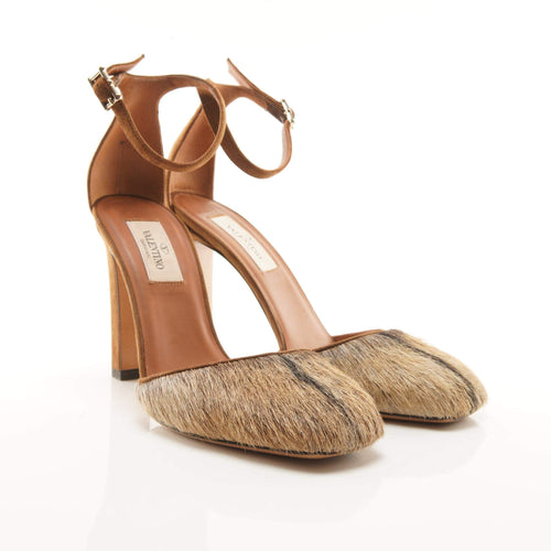 Valentino Faux Calf Hair Ankle Strap Pumps