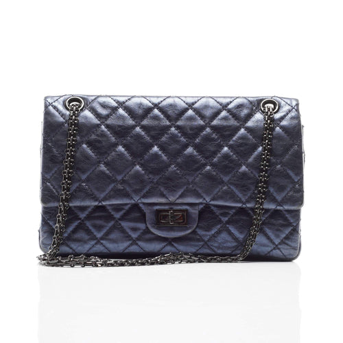 Chanel Blue Leather Medium 2.55 Reissue Double Flap Bag
