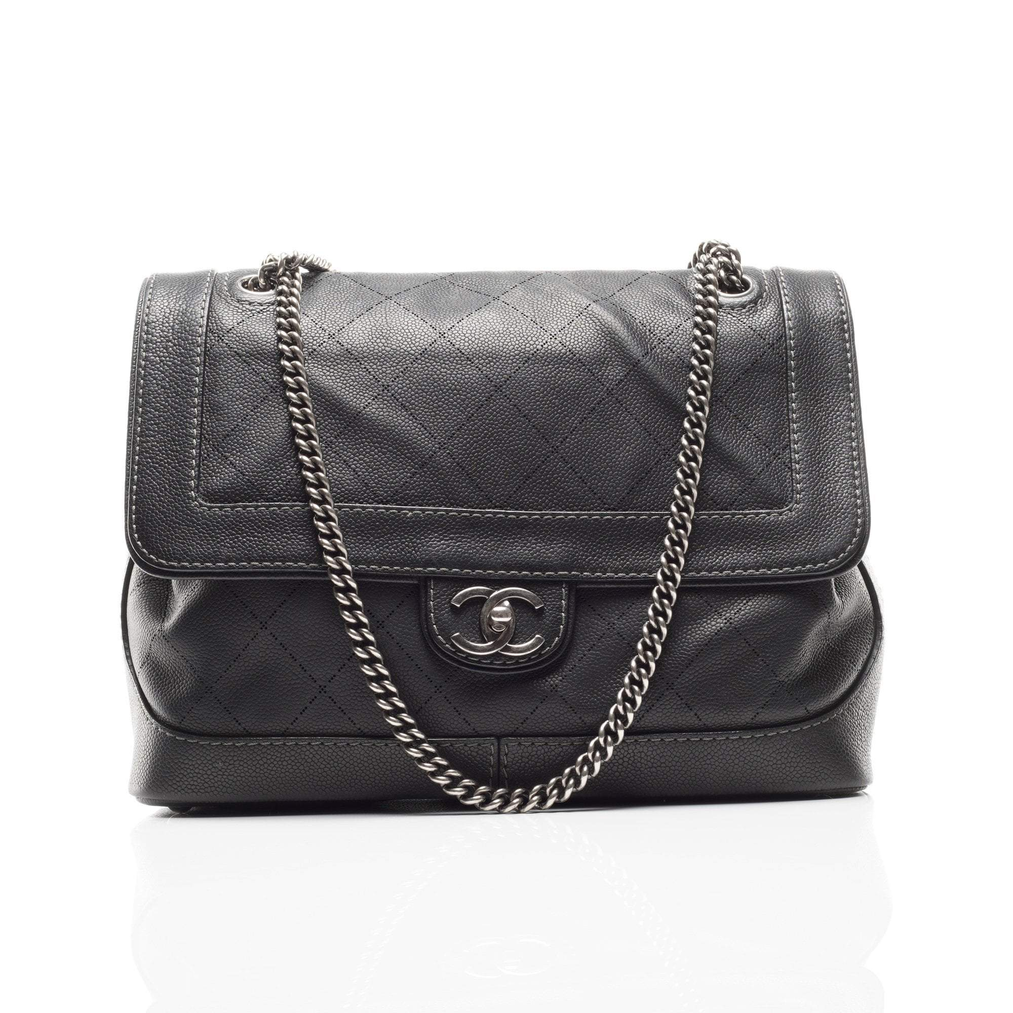 Chanel Gun Metal Strap Flap Bag