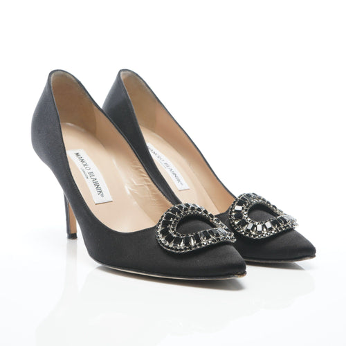 Manolo Blahnik Black OIDO Jewelled Crystal Pumps