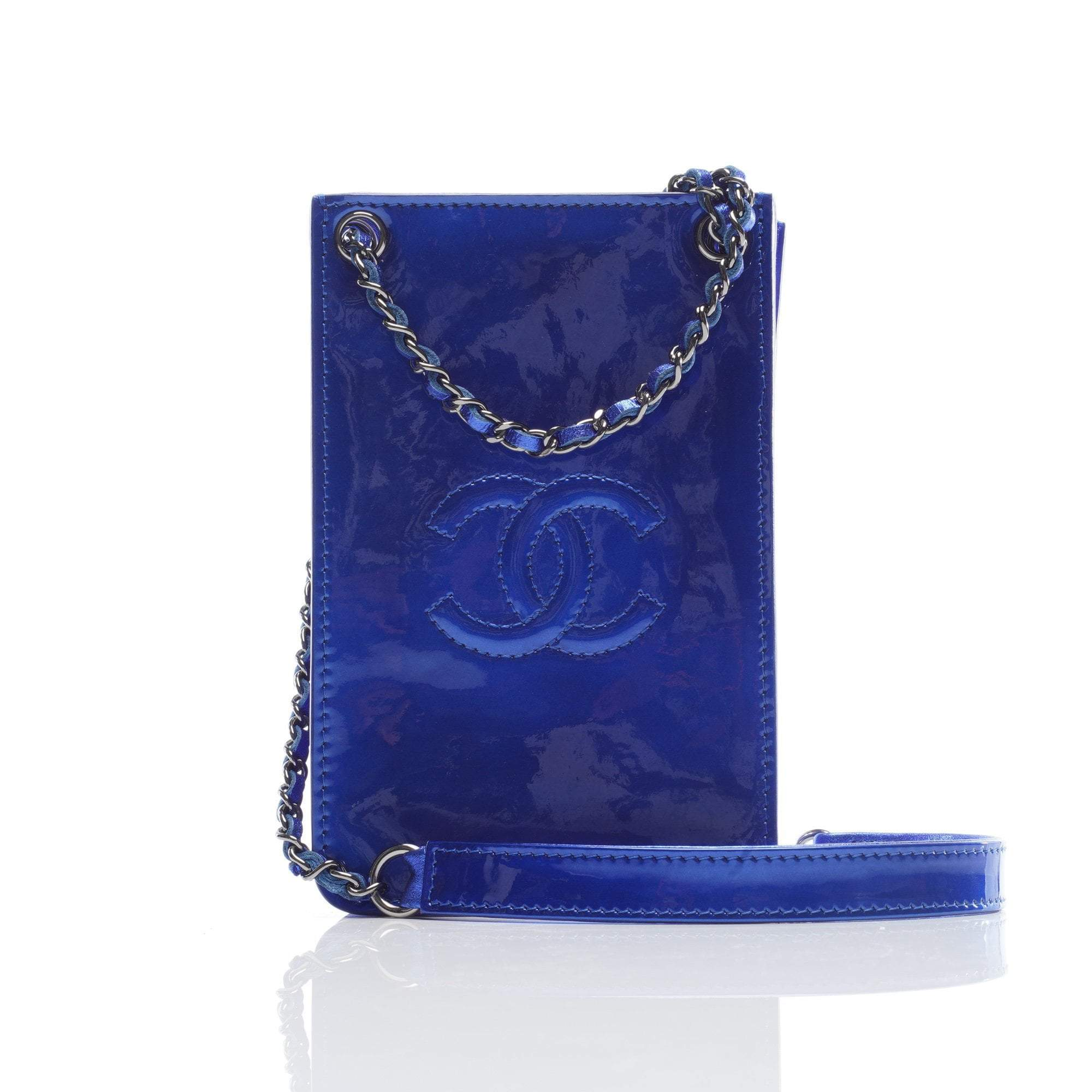 Chanel Royal Blue Patent Phone Case Crossbody Bag