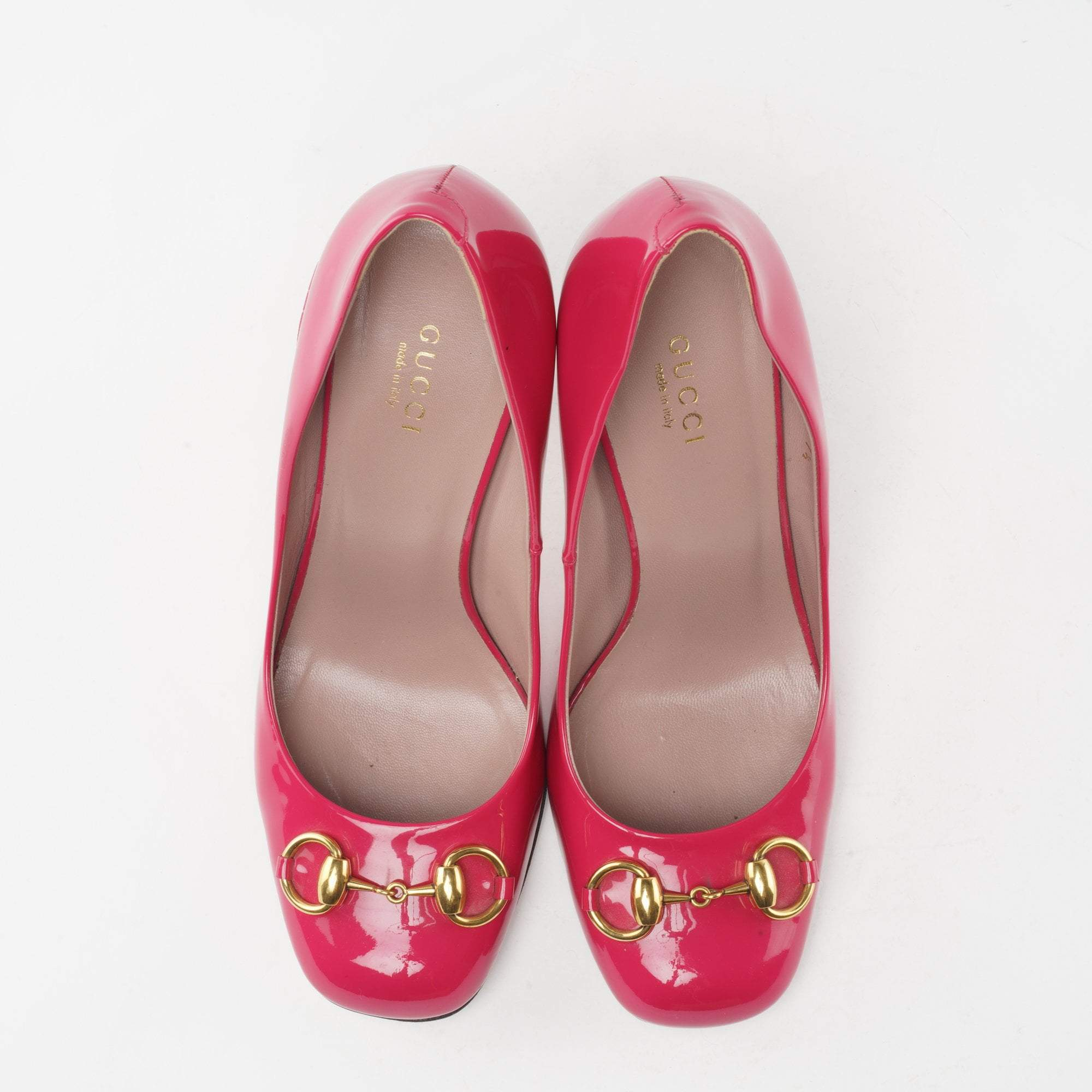 Gucci Pink Patent Leather Horsebit Pumps