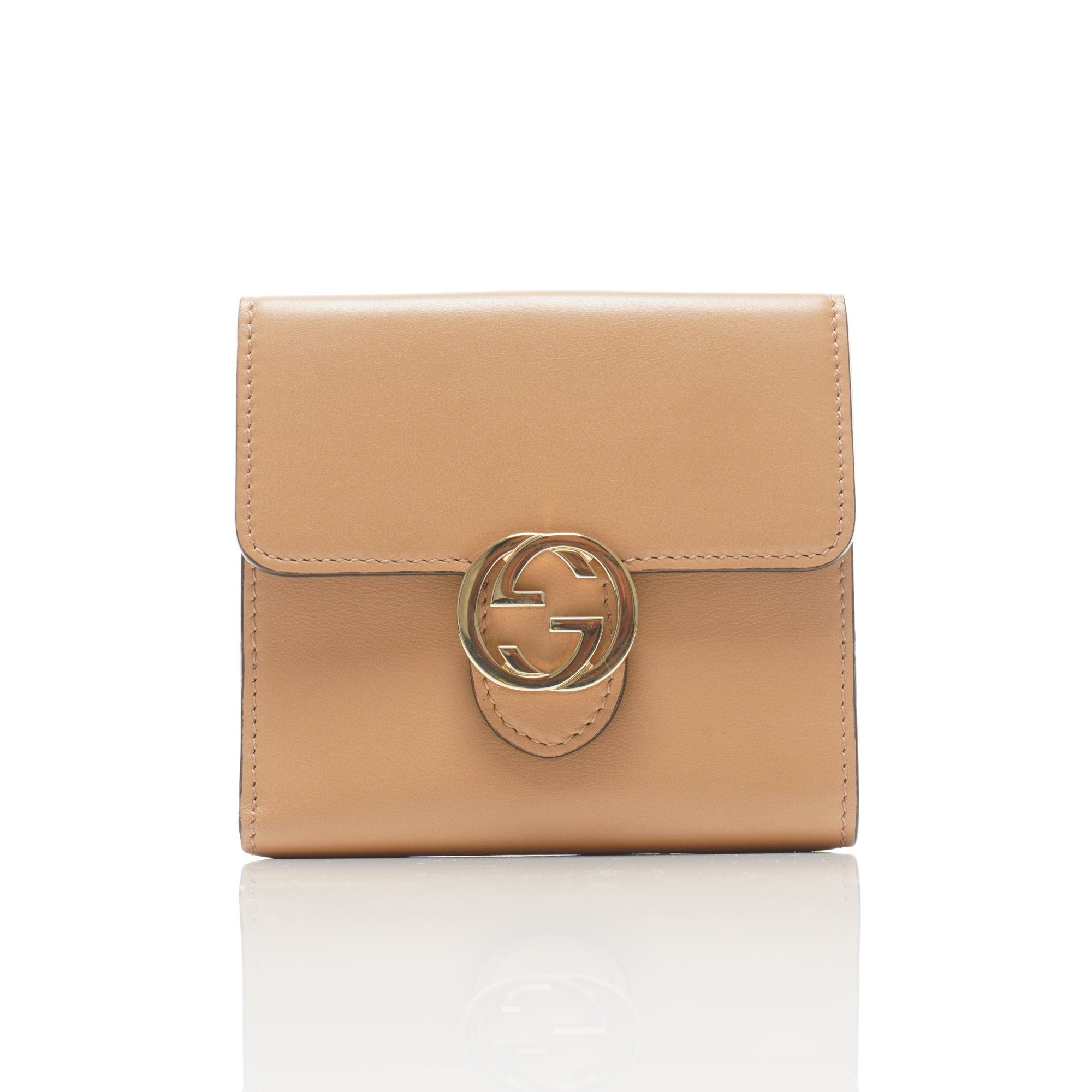 Gucci Beige Folded Leather Wallet