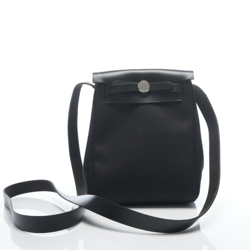 Hermes Black and Beige Canvas Mini Herbag TPM