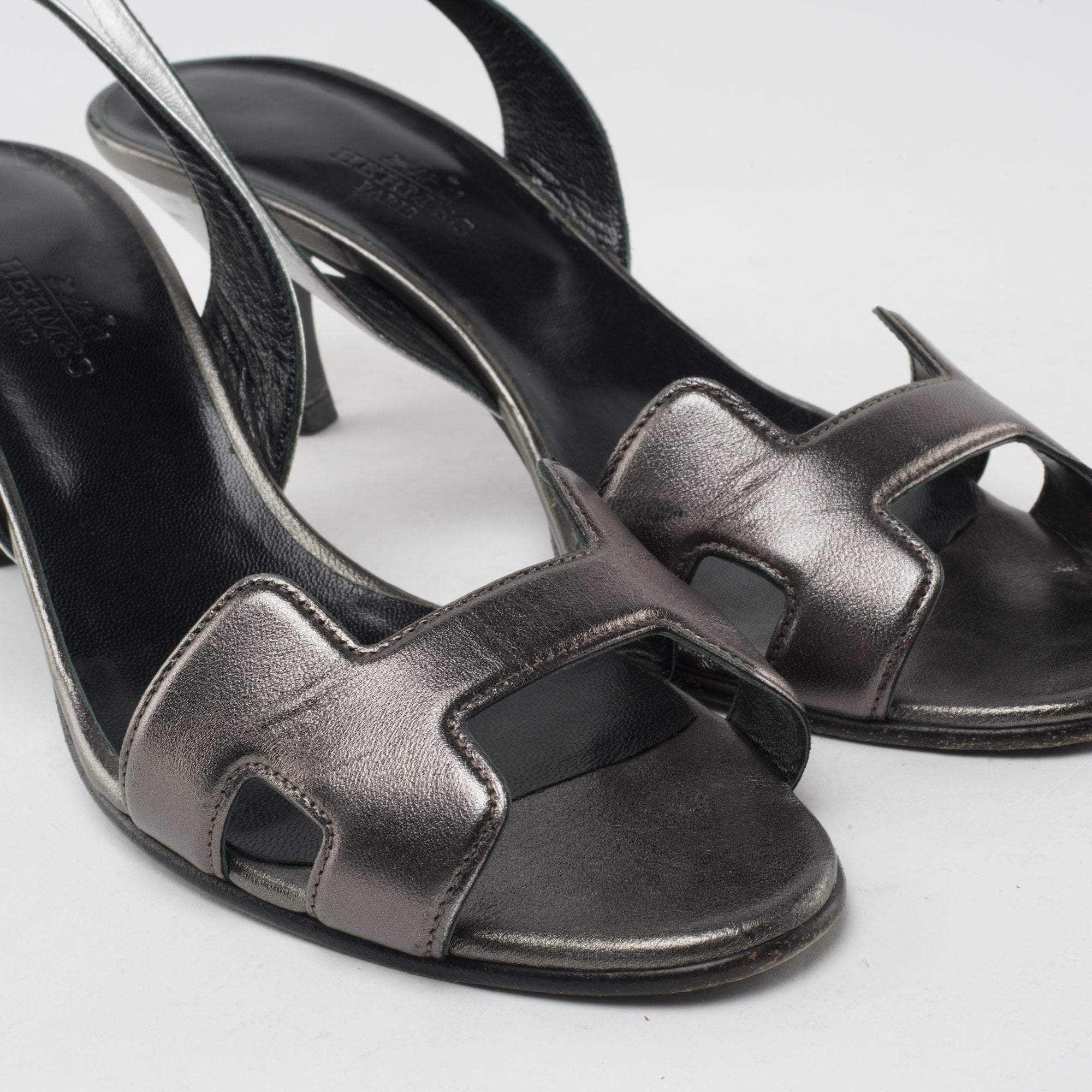 Hermes Metallic Leather Sandal Heels