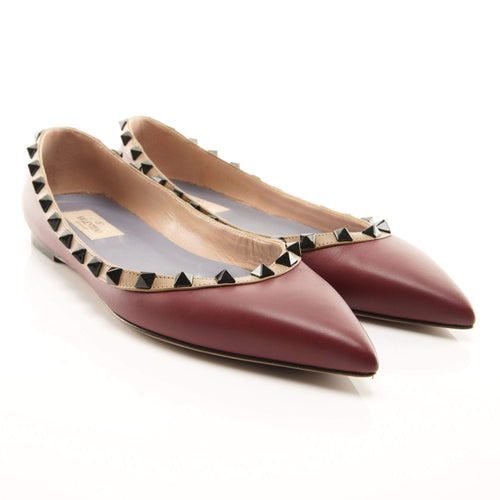 Valentino Garavani Burgundy Leather Ballerinas