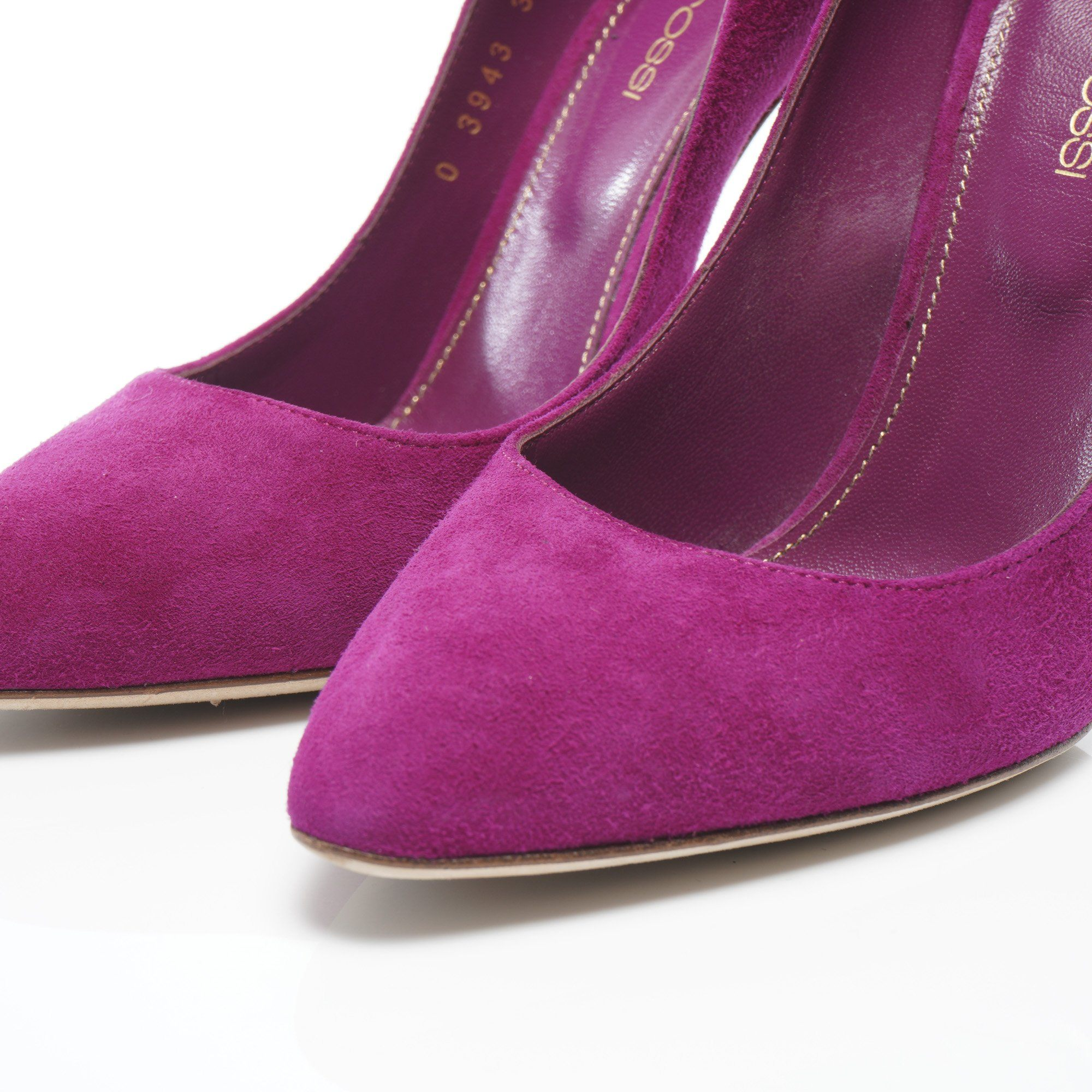 Sergio Rossi Purple Suede Pointed Shoes