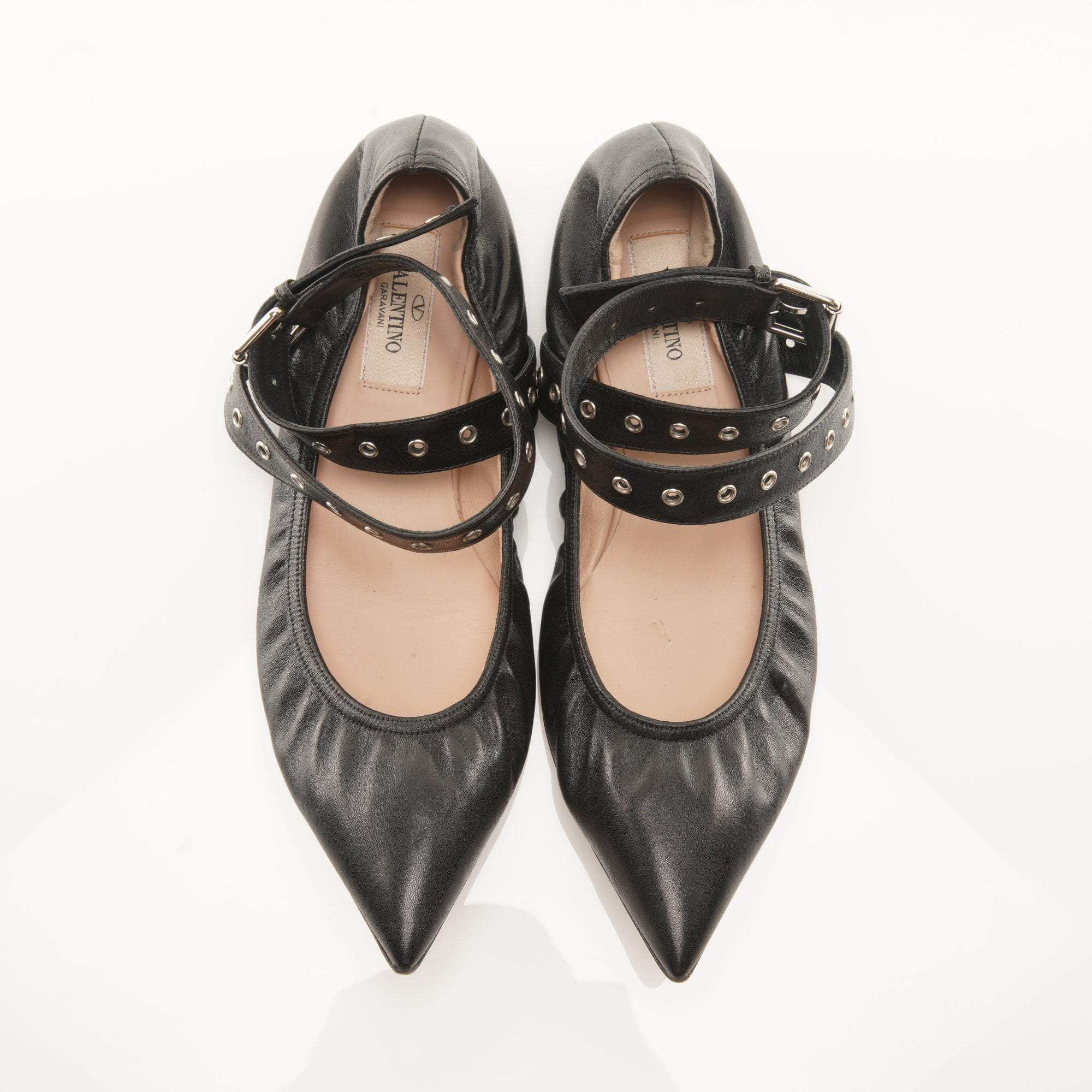 Valentino Black Love Latch Studded Ankle-Wrap Flats