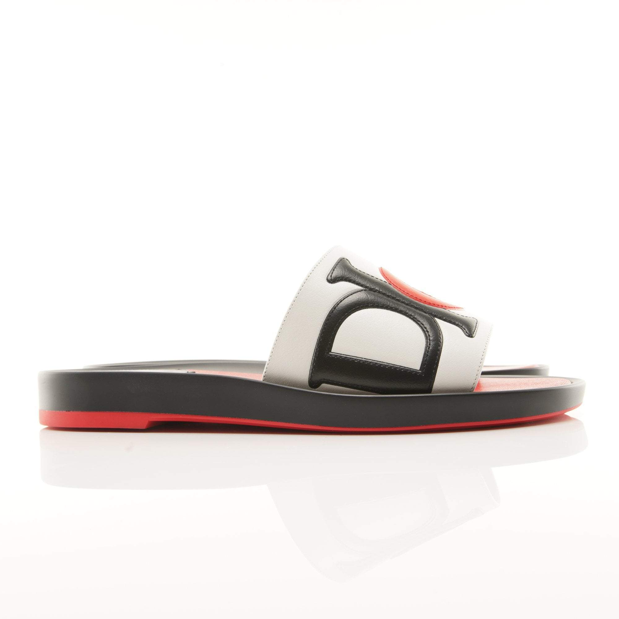 Christian Dior Marina Slides in Black and Red