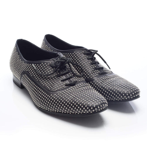 Saint Laurent Black Gold Studded Lace Up Oxford