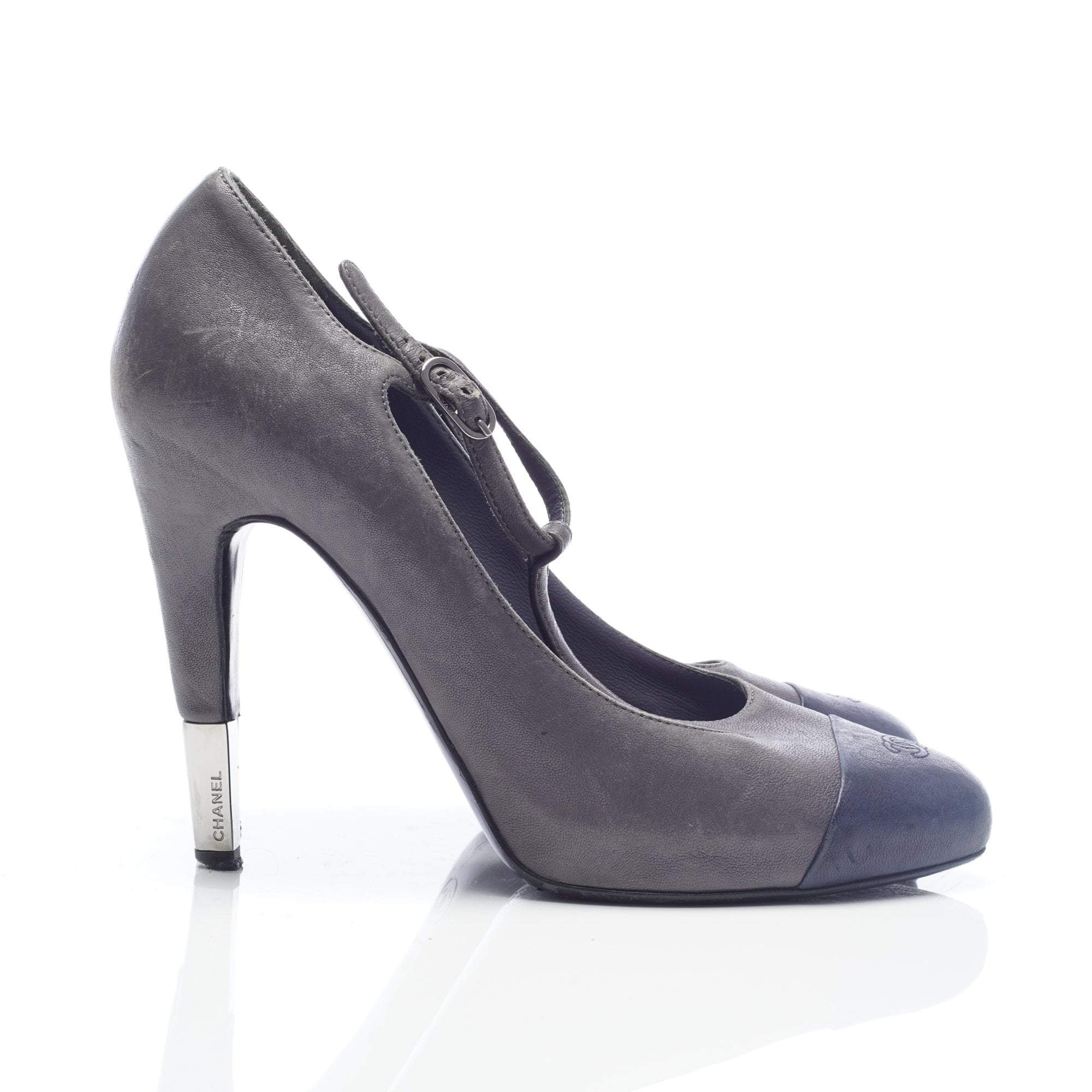 Chanel Grey and Navy T-strap Pumps