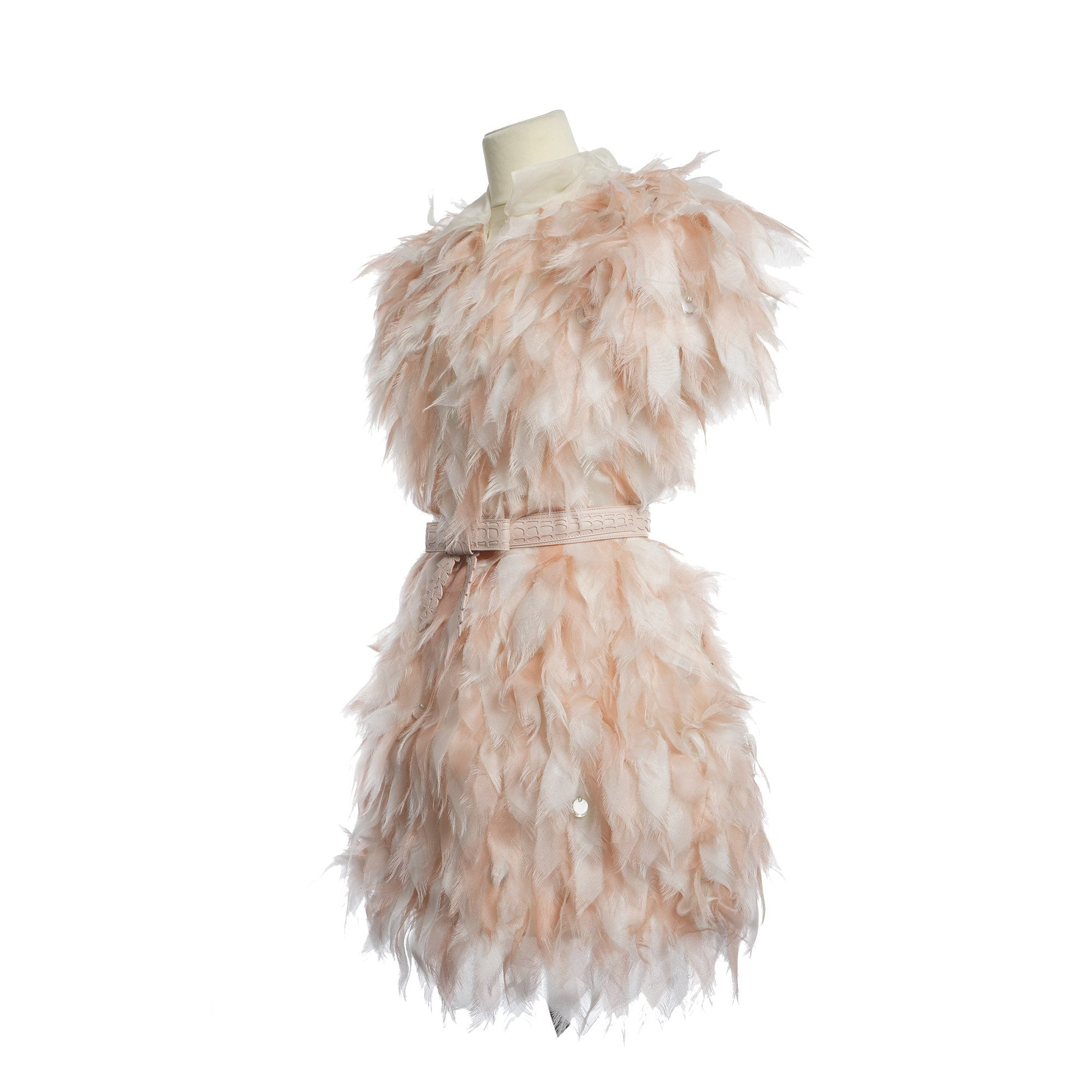 Fendi SS15 feather effect dusty pink mini dress