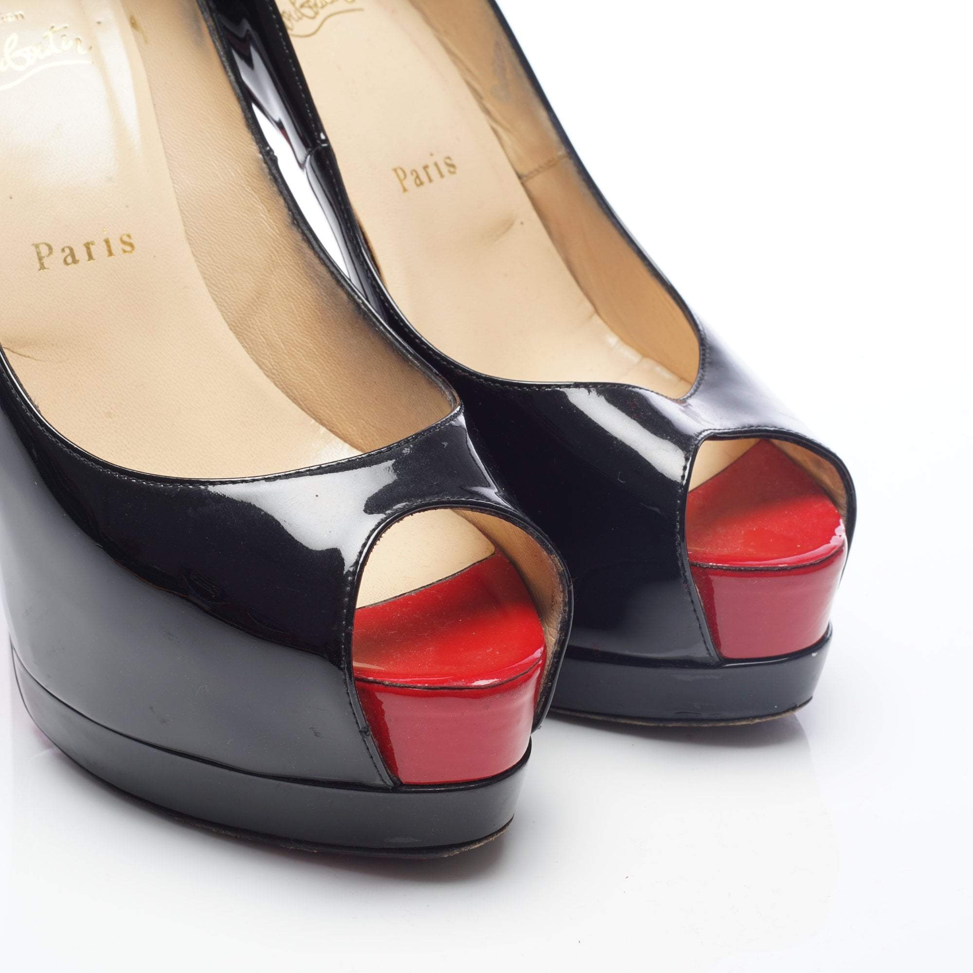 Christian Louboutin Black Patent Leather Peep Toe Pumps