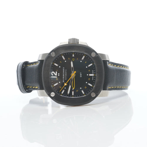 Burberry Black Leather The Britain GMT Men's Watch