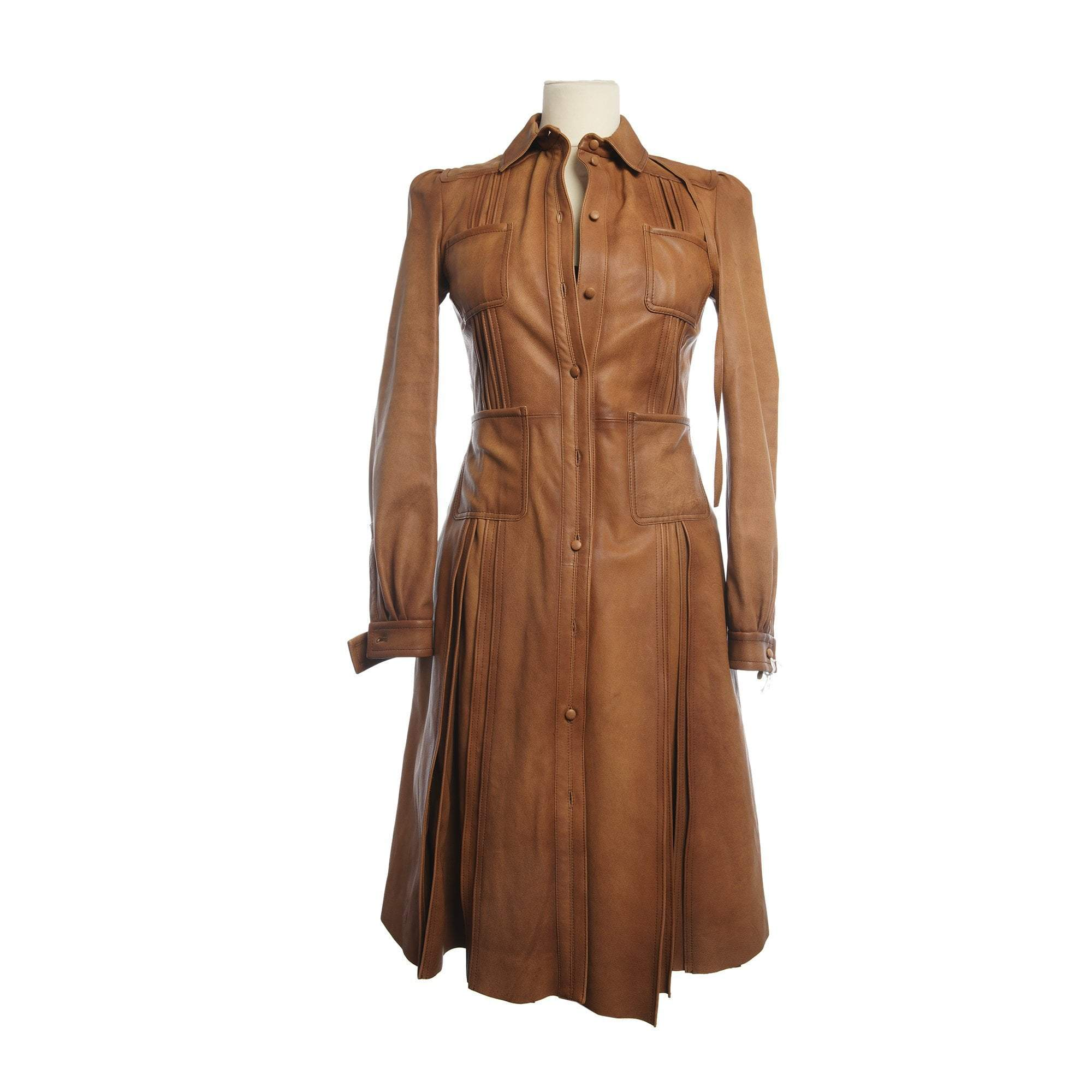 Valentino Belted Leather Shirt Dress, Marrone