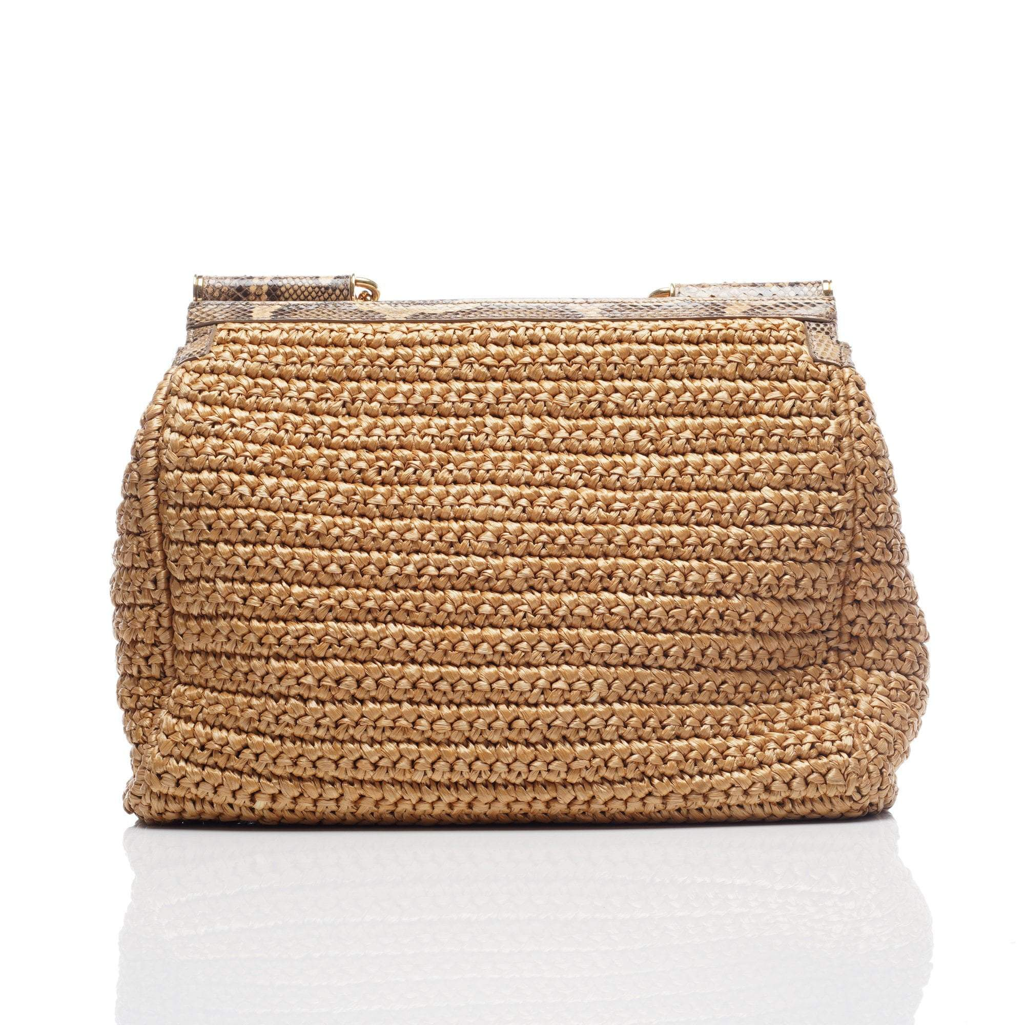 Dolce and Gabbana Miss Sicily Large Snakeskin Straw Satchel Bag