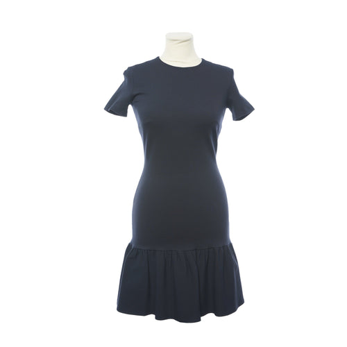 Red Valentino Navy Blue Short Sleeve Ruffle Hem Dress