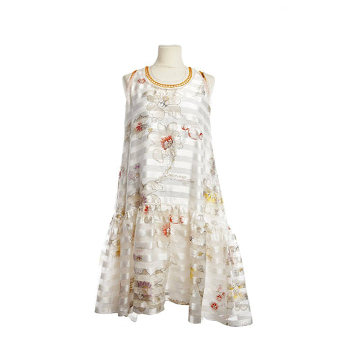 Fendi Ivory Bambolina Striped Floral Fit and Flare Dress