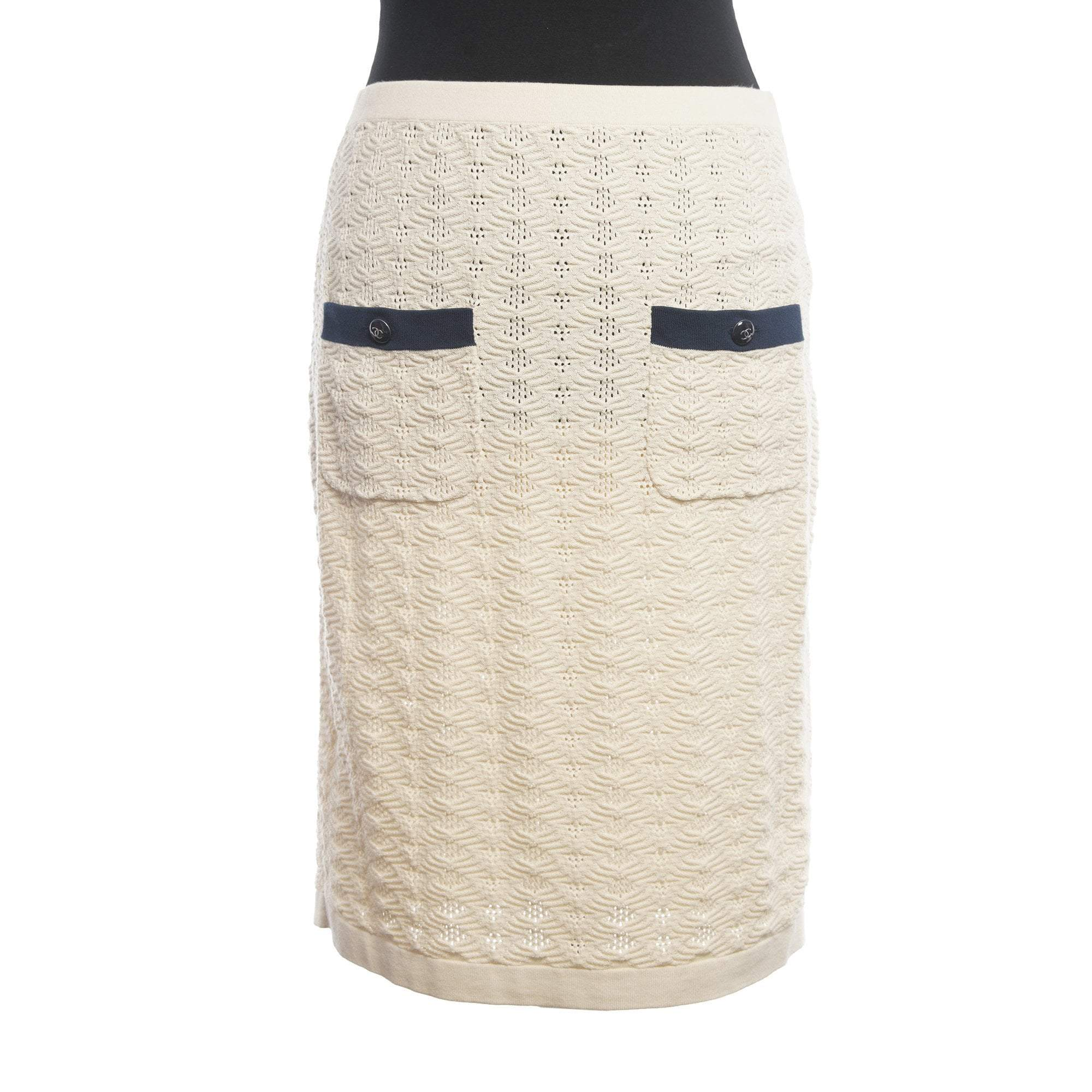 Chanel Beige Knitted Skirt w/ Pockets