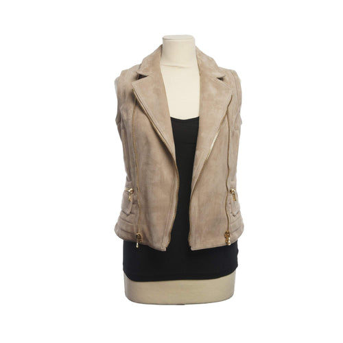 Balmain Tan Suede Vest with Gold-Tone Zipper