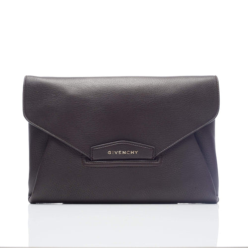 Givenchy Antigona Brown textured-leather clutch