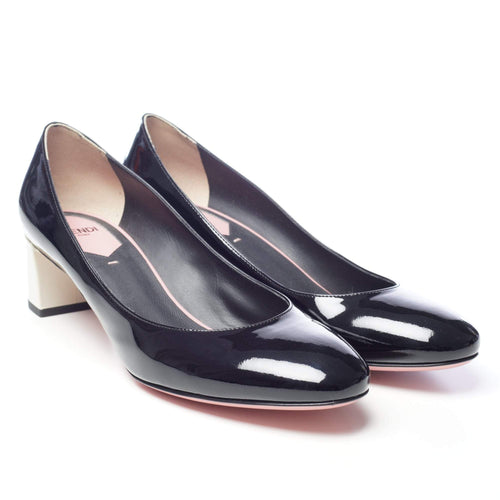 Fendi Black Patent Block Heel Pumps
