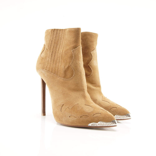 Saint Laurent Suede Camel Heeled Booties