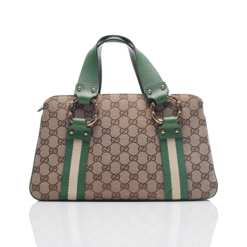 Gucci GG Logo Canvas Bamboo Satchel Bag