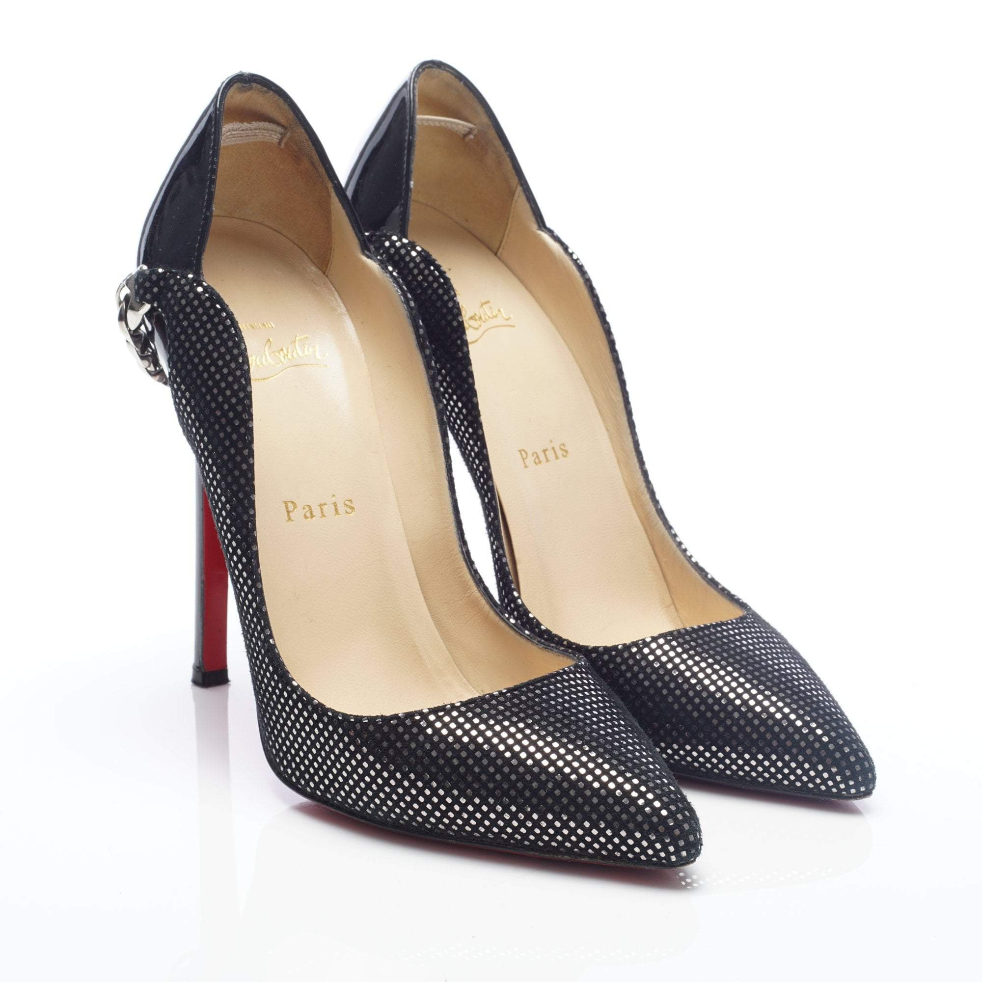 Christian Louboutin Black Metallic Square Suede Dorepi Chain Pumps
