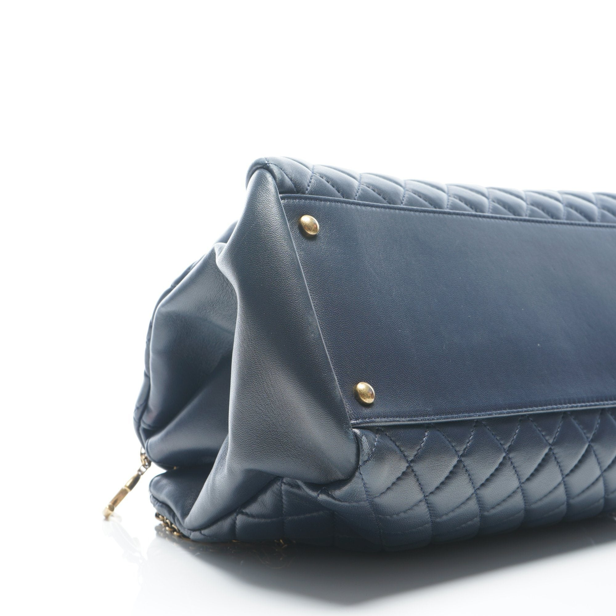 Chanel Blue Calfskin Large Quilted Mademoiselle Bag