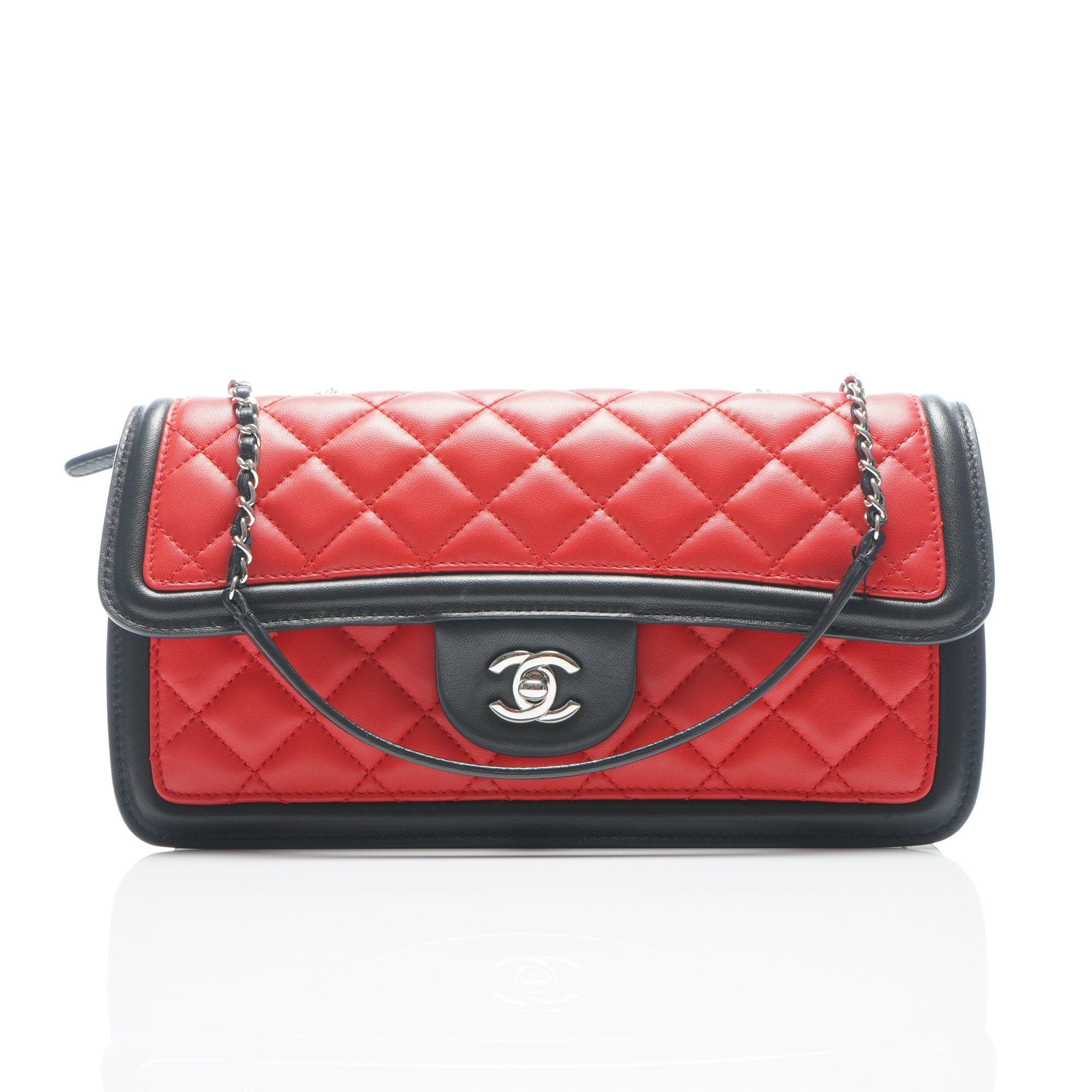 7962352351bfdb Chanel Tri-Color Quilted Lambskin Leather East/West Flap Bag – Garderobe