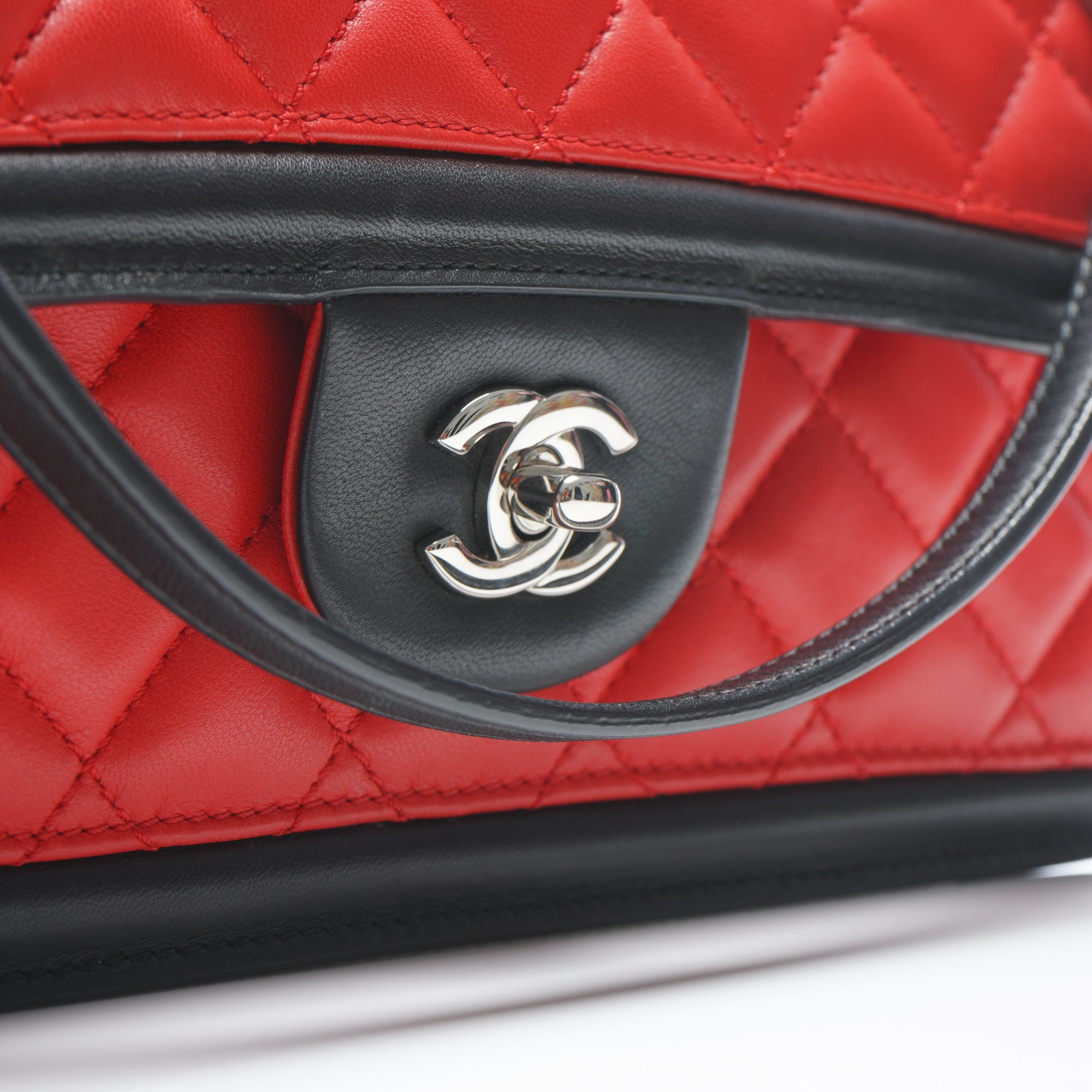 Chanel Tri-Color Quilted Lambskin Leather East/West Flap Bag