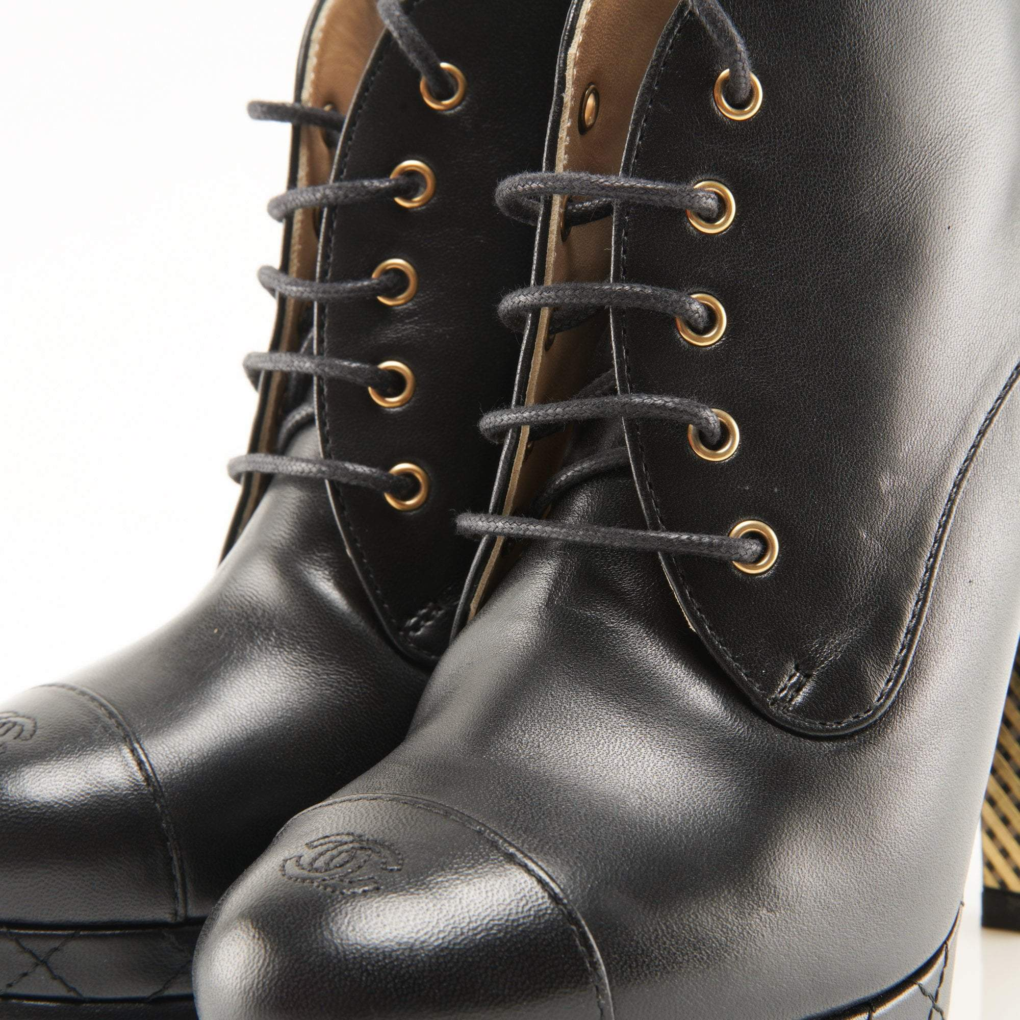 Chanel CC Platform Lace Up Booties