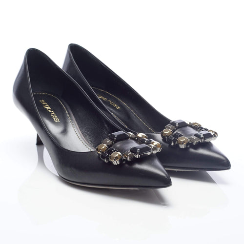Sergio Rossi Black Leather Low Heel Bead Embellished Pumps