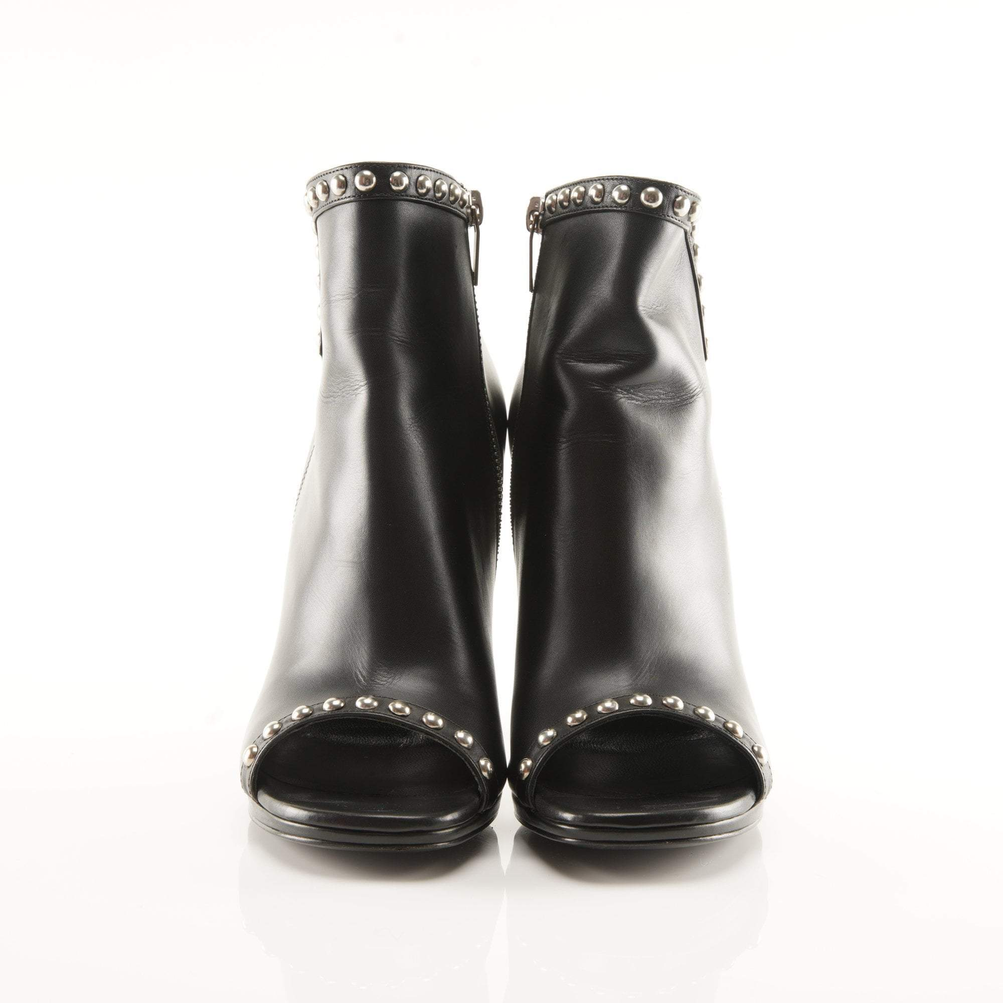 Saint Laurent Studded Peep Toe Booties